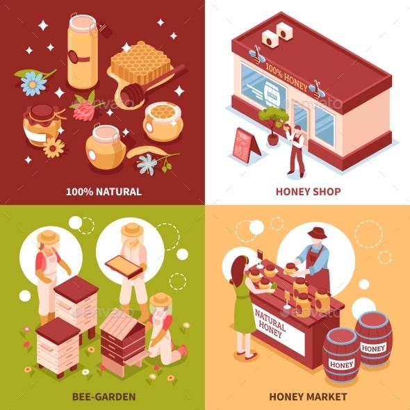 Honey Production 4 Isometric Icons - Animals Characters