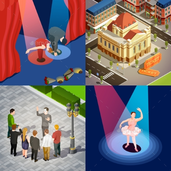 Theatre Isometric Design Concept - Miscellaneous Vectors