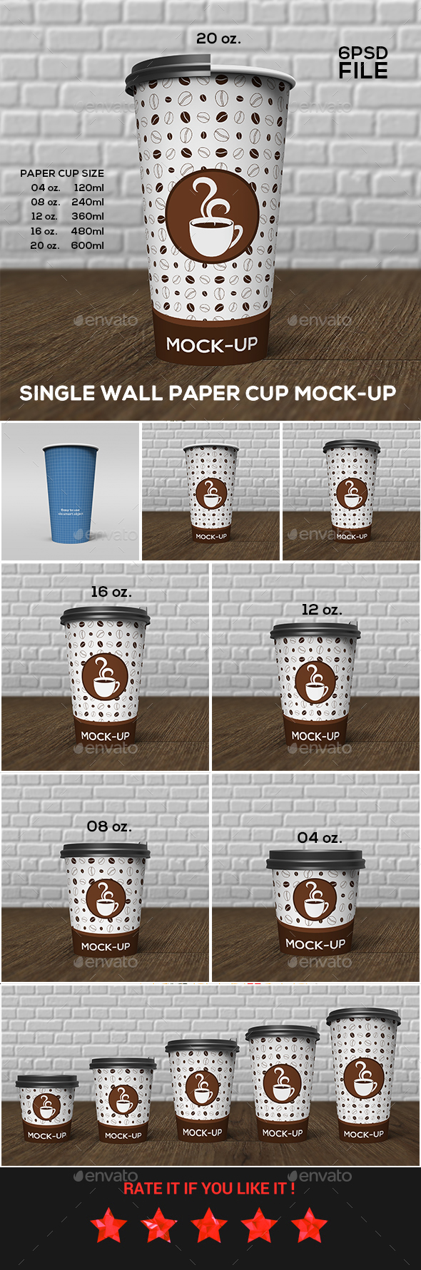 Single Wall Paper Cup Mock-Up Set - Food and Drink Packaging