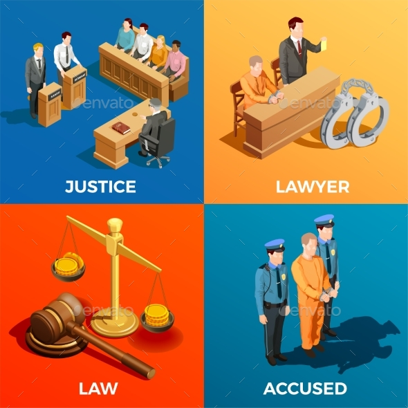 Justice Isometric Design Concept - People Characters