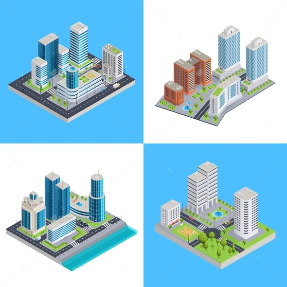 Modern City Isometric Compositions - Buildings Objects