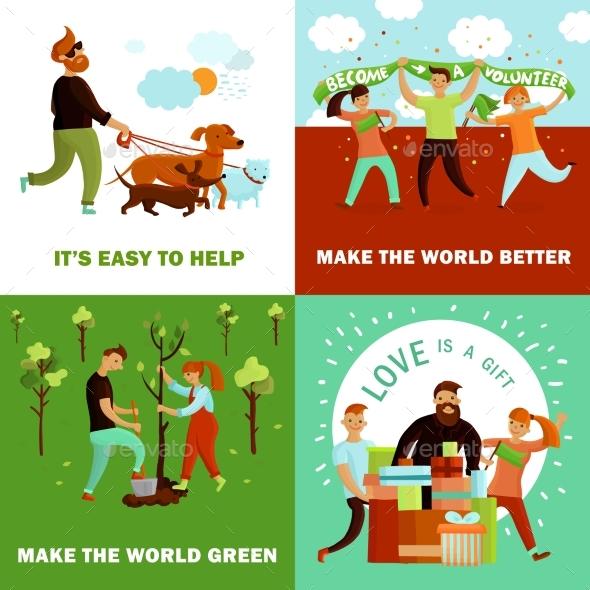 Happy Volunteers Design Concept - Landscapes Nature