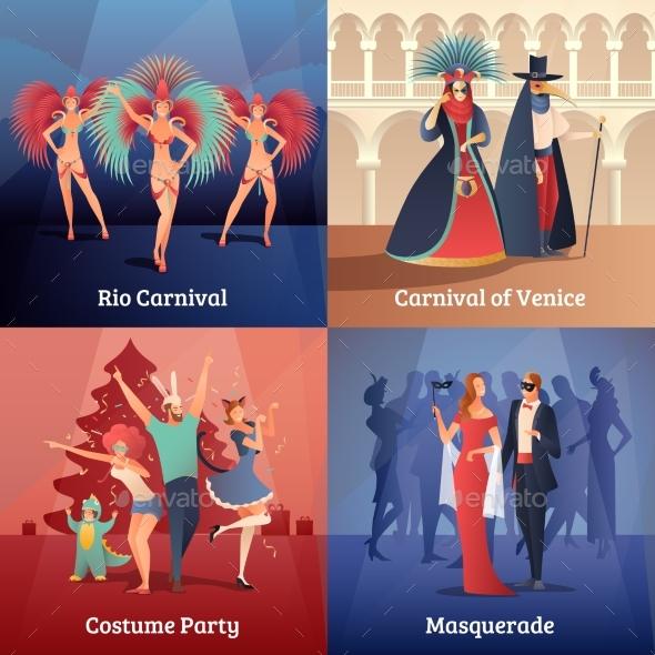 Carnival Party Concept Icons Set - Sports/Activity Conceptual