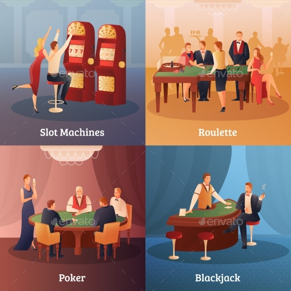 Casino Concept Icons Set - Sports/Activity Conceptual
