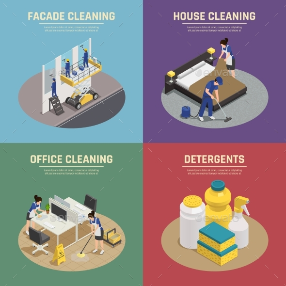 GraphicRiver Professional Cleaning Isometric Compositions 20439099