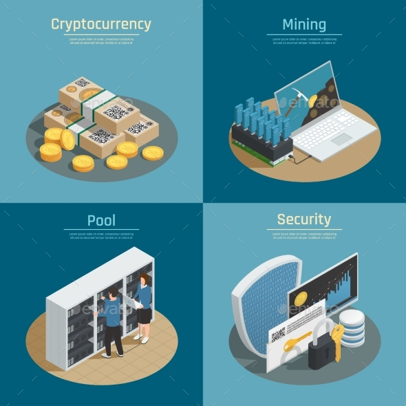 Cryptocurrency Isometric Compositions - Computers Technology