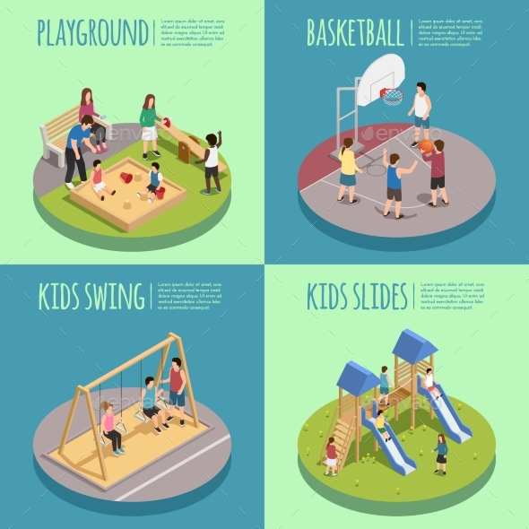 Children Playground Isometric Compositions - Sports/Activity Conceptual