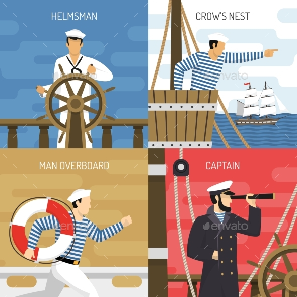 Ship Crew 4 Icons Concept - Man-made Objects Objects