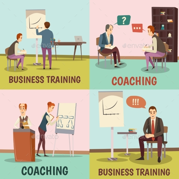 Coaching Concept Icons Set - Business Conceptual