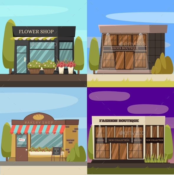 Shops Concept Icons Set - Buildings Objects