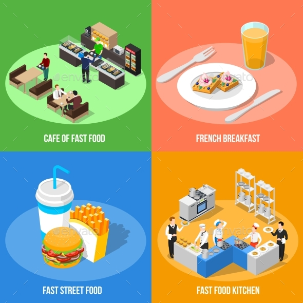 Fast Food 2X2 Isometric Design Concept - Food Objects