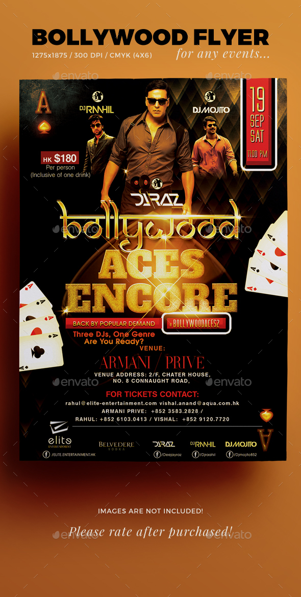 Bollywood Aces Flyer Template - Events Flyers