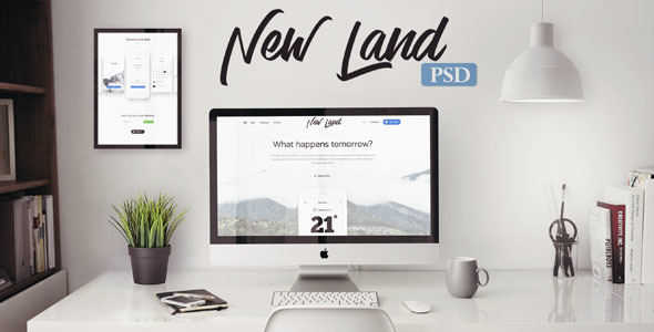 New Land - App Landing Page PSD Template