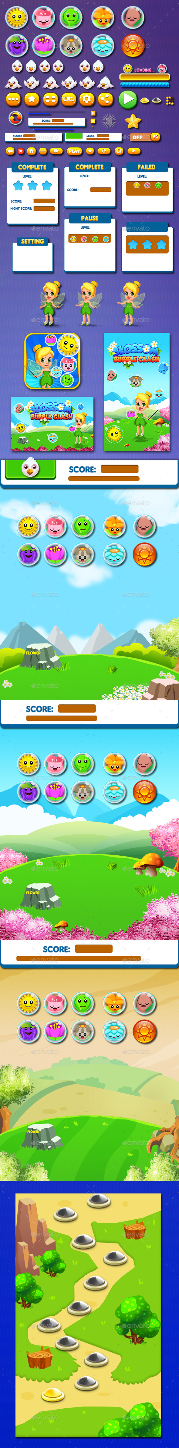 Bubble Shooter Unity Asset Reskin : Blossom - Game Kits Game Assets