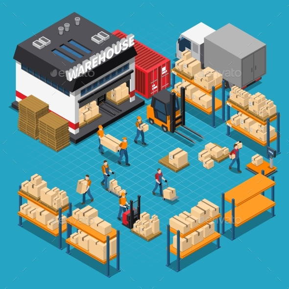 Warehouse Isometric Composition - Industries Business