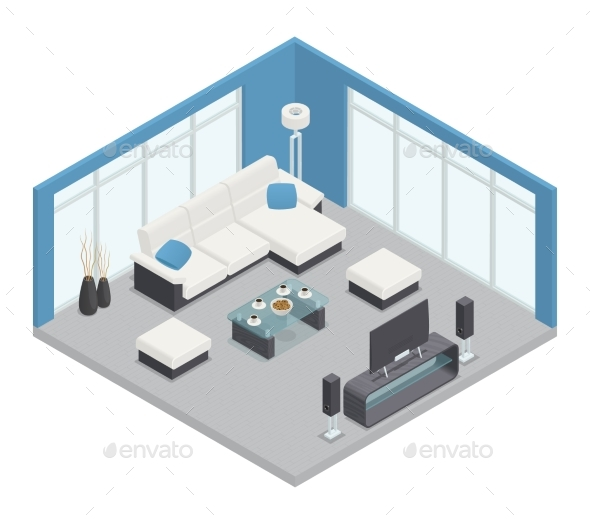 Dining Room Isometric Composition - Buildings Objects
