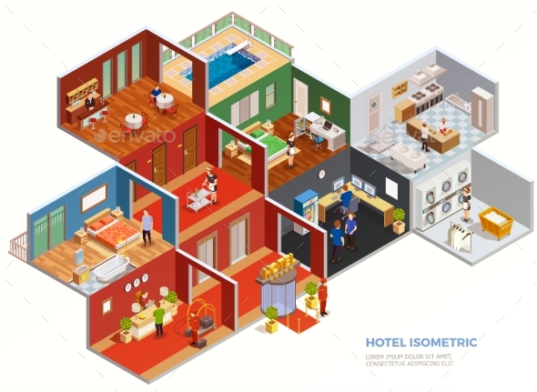 GraphicRiver Hotel Isometric Composition 20439277