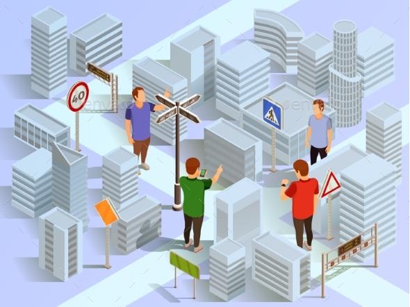 GraphicRiver City Navigation Isometric Composition 20439282