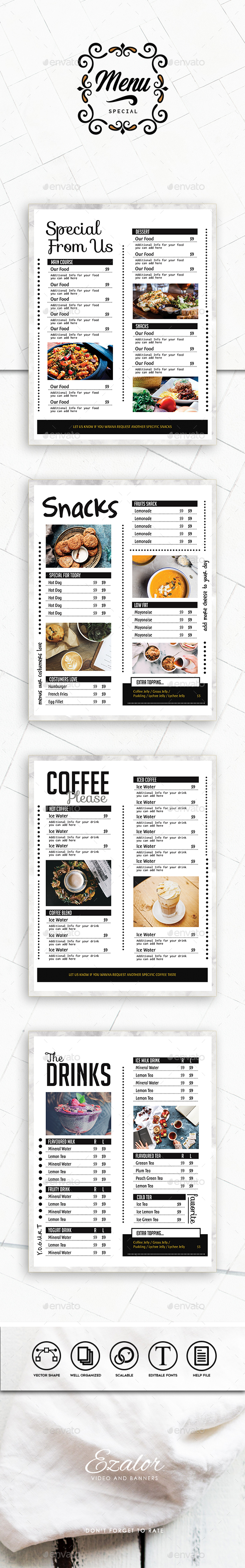 The Menu - Food Menus Print Templates