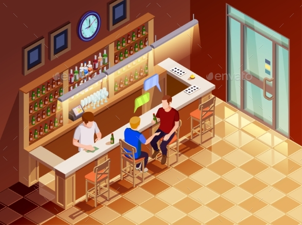 GraphicRiver Friends in Bar Interior Isometric View 20439293
