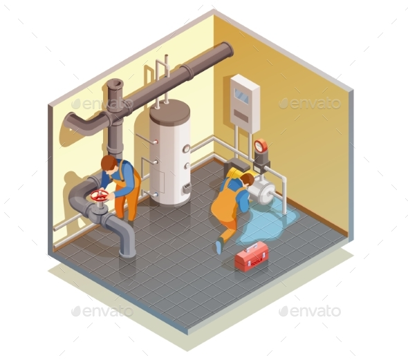 GraphicRiver Plumbers Boiler Leak Fixing Isometric Composition 20439295
