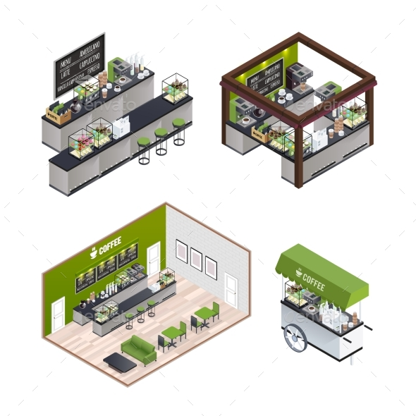 Isometric Coffee Shops Set - Food Objects