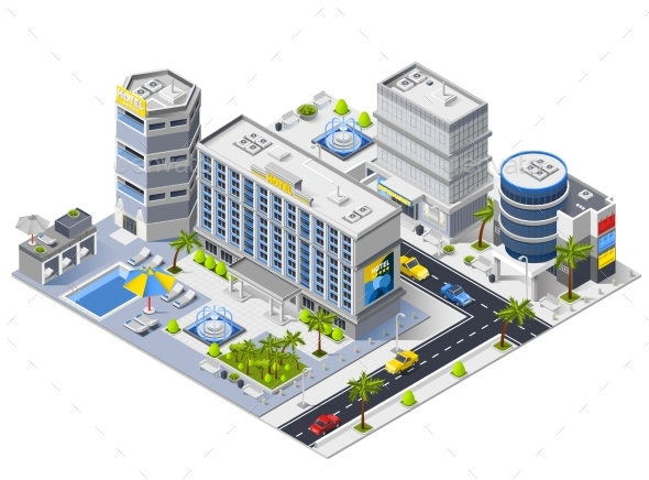 Luxury Hotel Buildings Isometric Composition - Buildings Objects