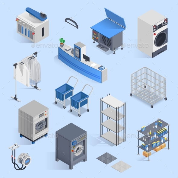Dry Cleaning and Laundry Service Isometric Set - Man-made Objects Objects