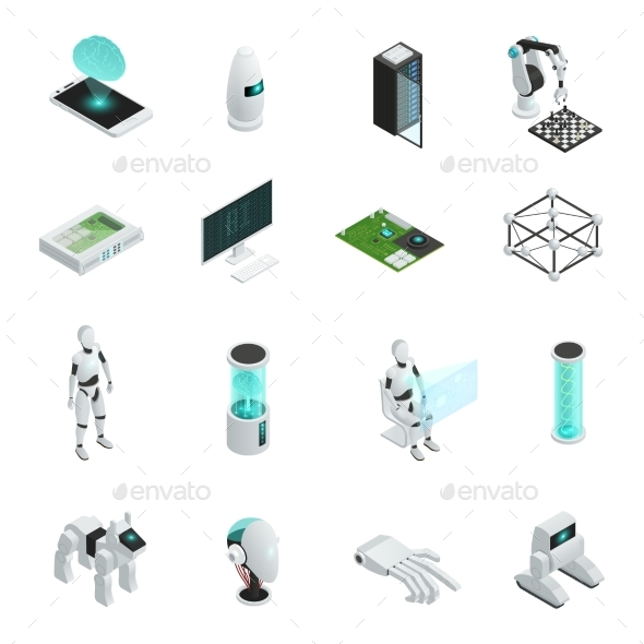 Artificial Intelligence Isometric Icon Set - Computers Technology