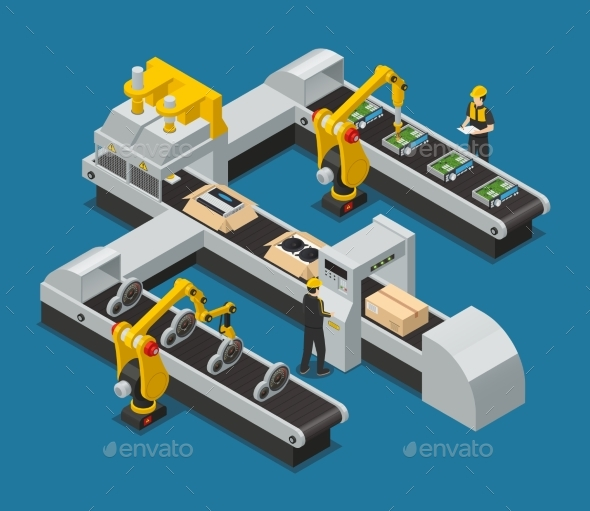 GraphicRiver Car Electronics Autoelectronics Isometric Factory 20439312