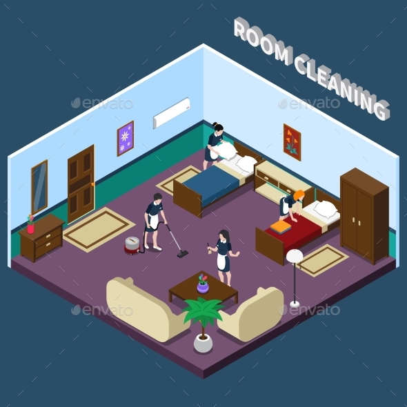 Cleaning Hotel Room Isometric Design - Services Commercial / Shopping