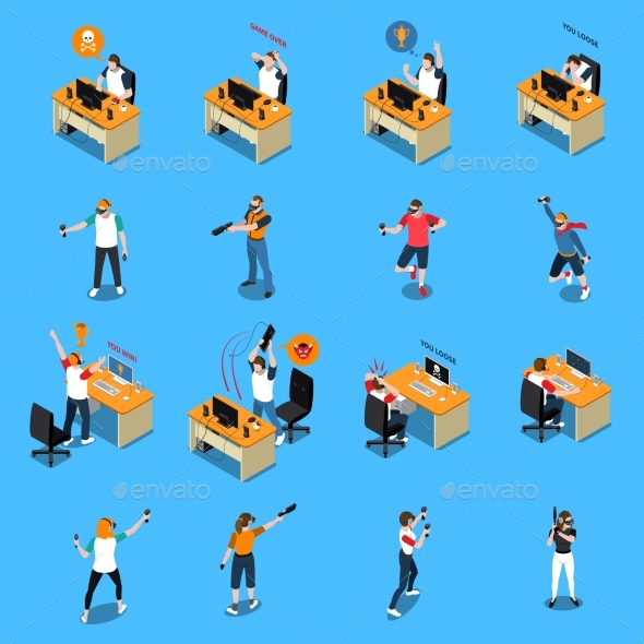 People In Cyber Sport Isometric Set - Sports/Activity Conceptual