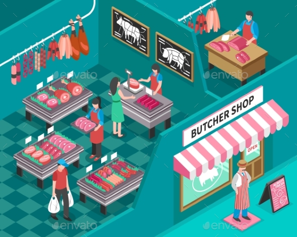 Meat Shop Isometric Illustration - Food Objects