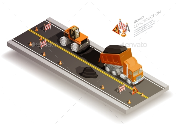GraphicRiver Road Works Construction Composition 20439318