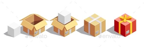 Parcel Packaging Isometric Set - Miscellaneous Vectors
