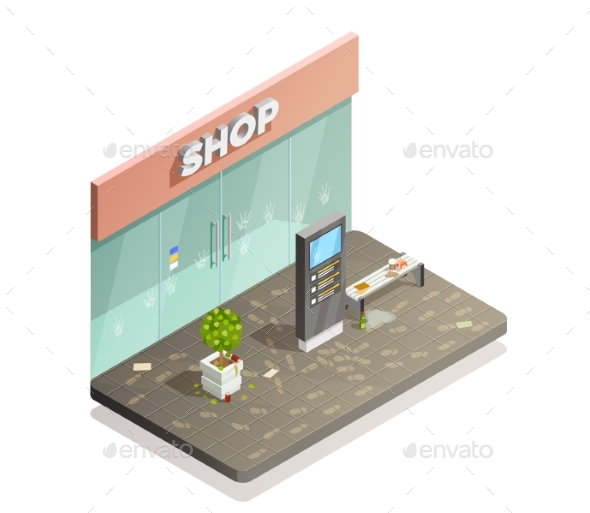 Dirty Storefront Isometric Composition - Buildings Objects