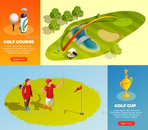 Golf Isometric Horizontal Banners - Sports/Activity Conceptual
