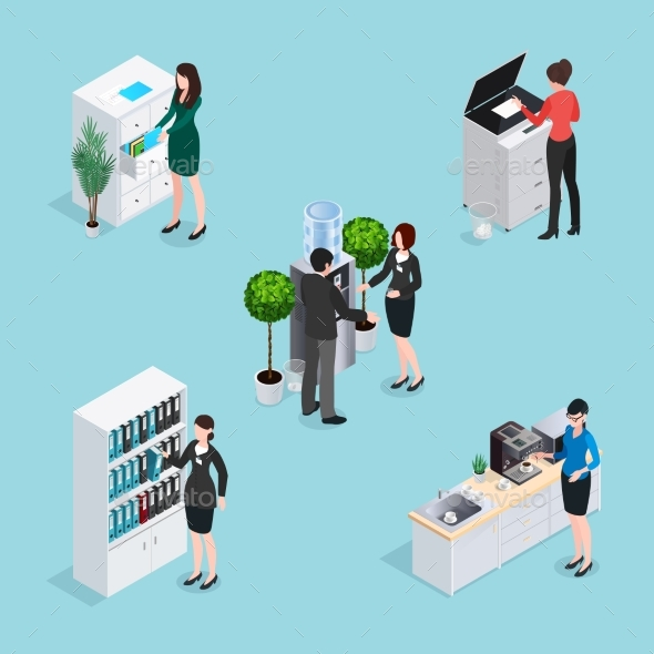Office Life Scenes Isometric Set - Concepts Business