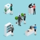 Office Life Scenes Isometric Set