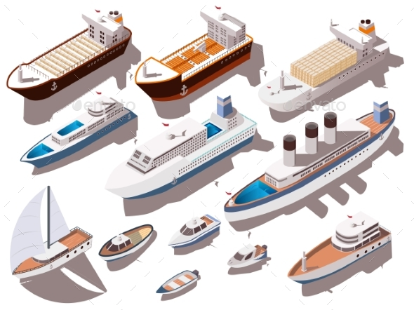 Ships Isometric Set - Man-made Objects Objects