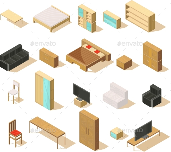 Furniture Isometric Elements Set - Man-made Objects Objects