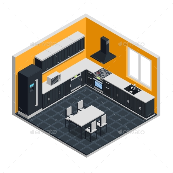 GraphicRiver Kitchen Interior Isometric Concept 20439337