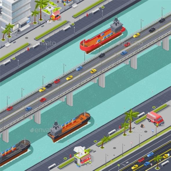 Bridges in City Isometric Composition - Miscellaneous Vectors