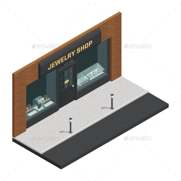 Jewelry Shop Isometric Composition - Buildings Objects