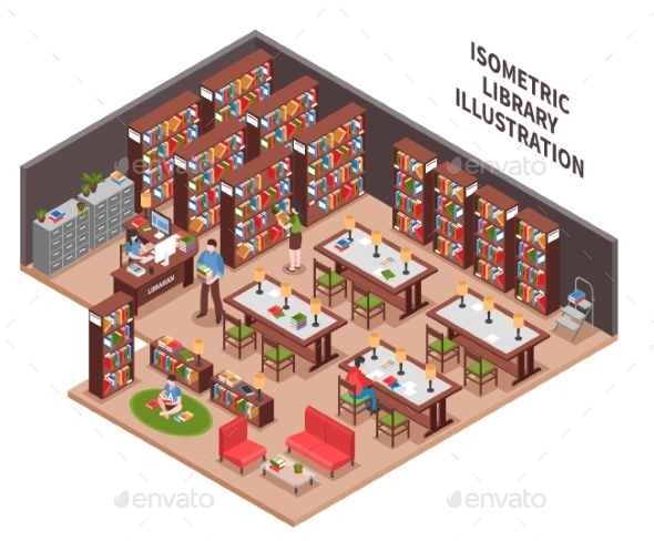 Library Isometric Illustration - People Characters