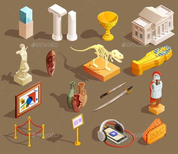 GraphicRiver Museum Artifacts Isometric Collection 20439419