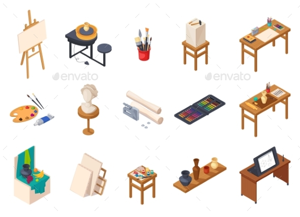 Art Studio Elements Set - Miscellaneous Vectors