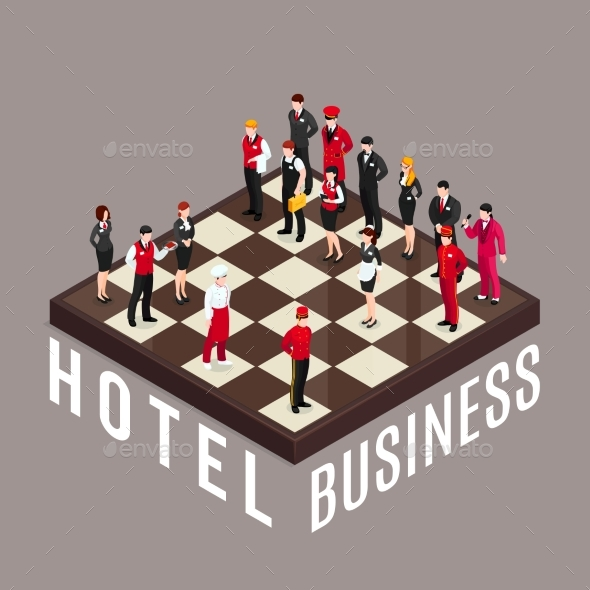Hotel Business Chess Concept - Industries Business