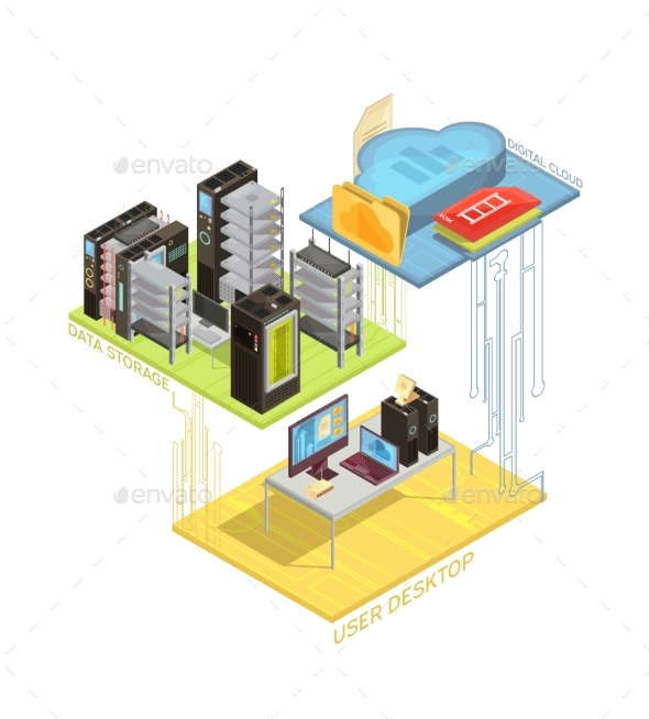 GraphicRiver Data Cloud Isometric Infographics 20439434