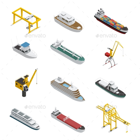 Sea and River Vessel Isometric Icons Set - Man-made Objects Objects